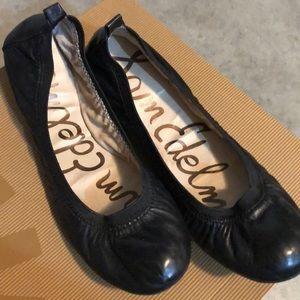 Sam Edelman black leather ballet flats